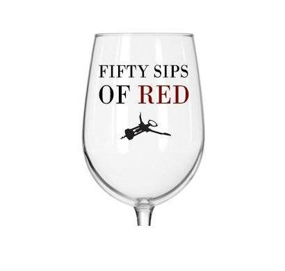 Fifty sips of red funny wine glass