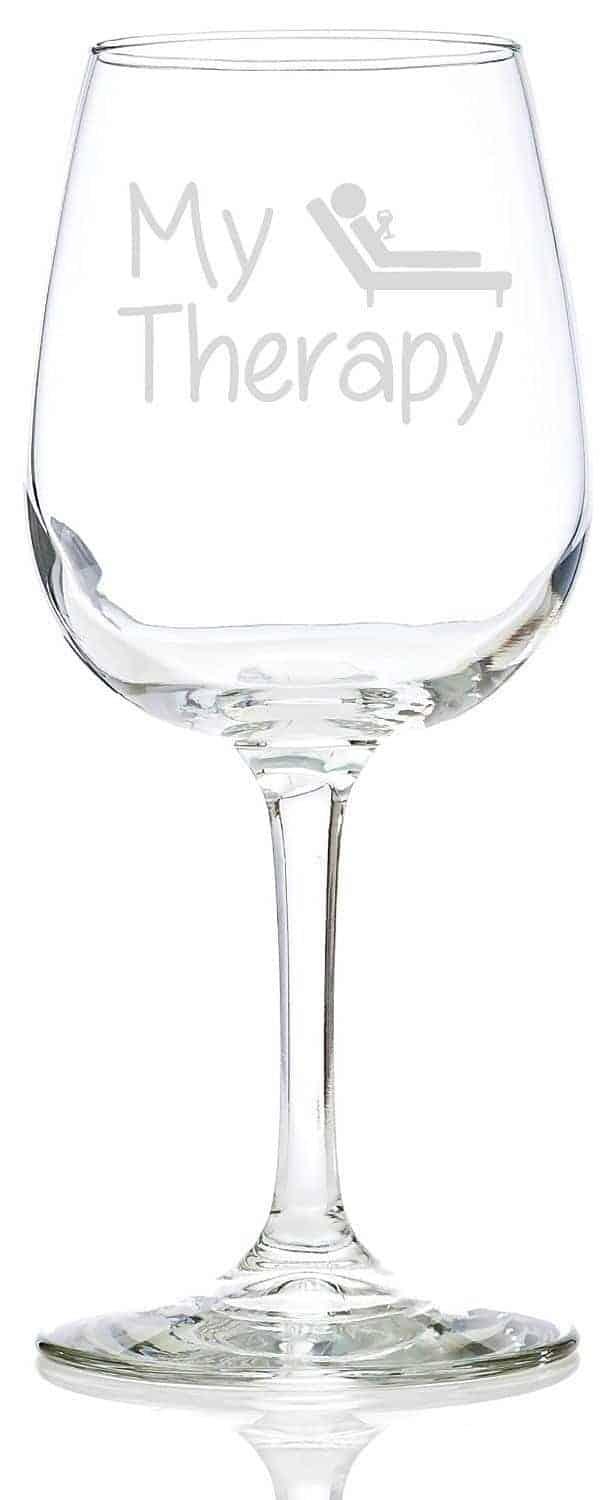 My Therapy funny wine glass
