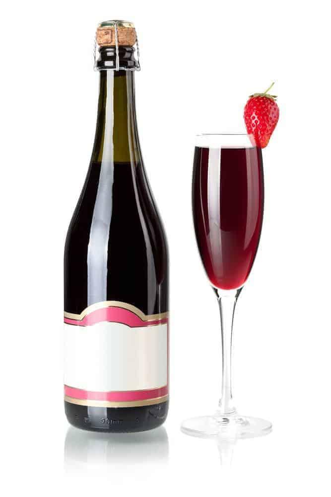 Strawberry champagne bottle