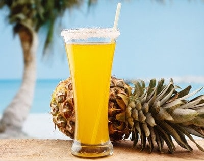 Pineapple beer on beach