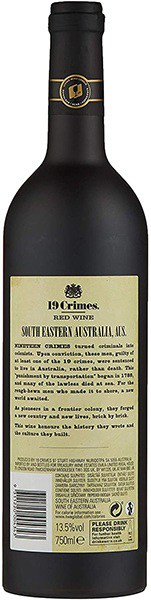 19 crimes back of bottle