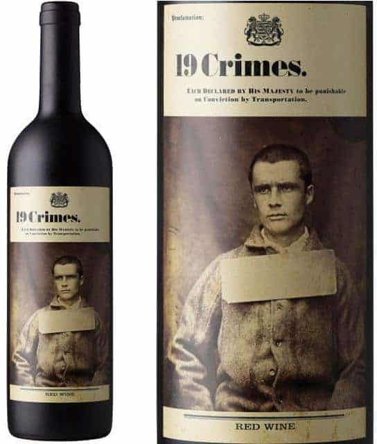 19 crimes red wine bottle