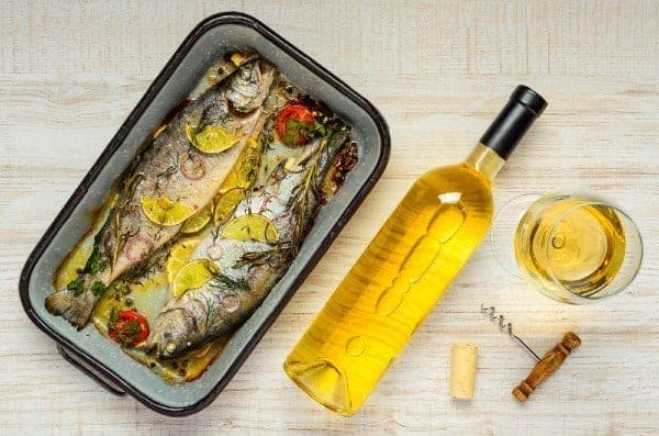 cooked fish and white wine