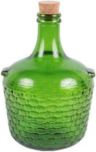 green demijohn with cork